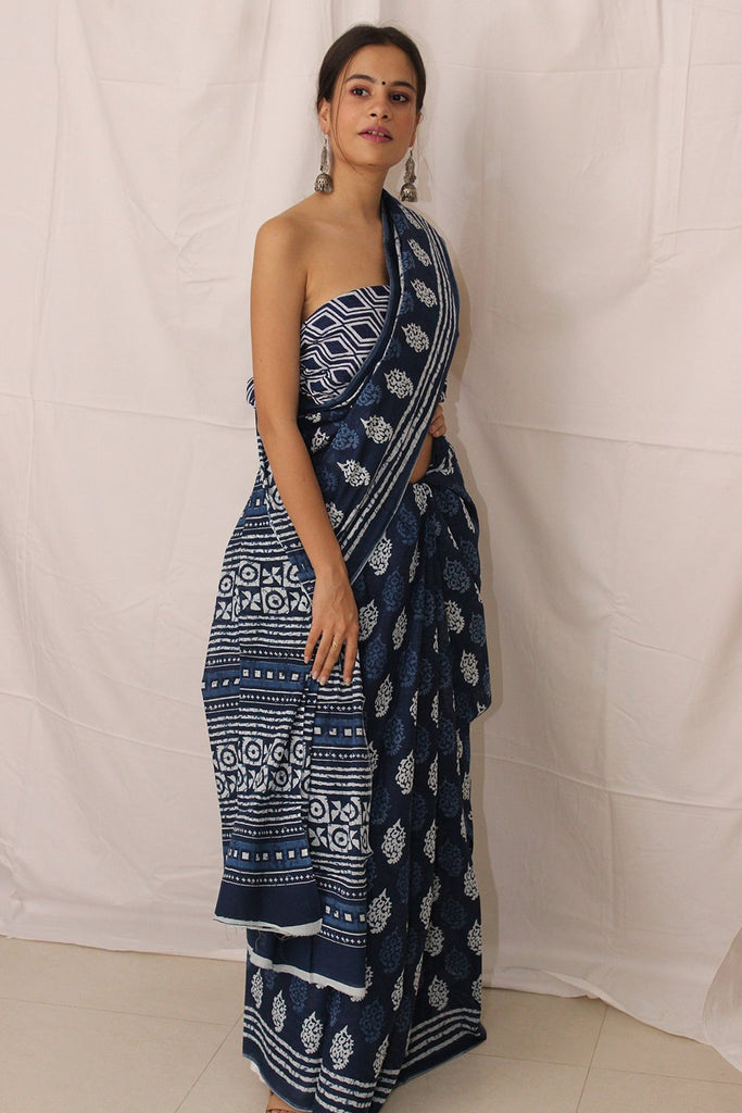 Indigo Handblock Print Cotton Saree