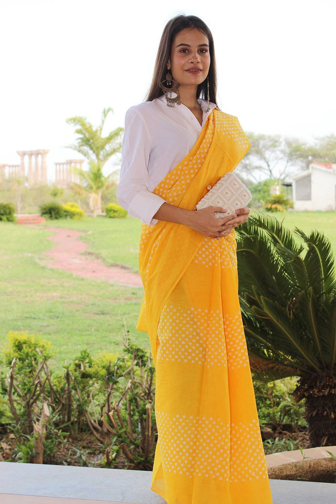 Sunshine Yellow Dots Mul Cotton Handblock Saree