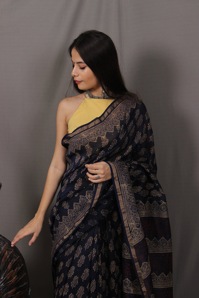 Ratri Black Handblocked Chanderi Saree
