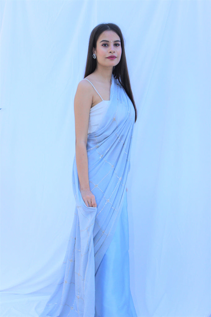 Powder Blue Pure Chinon & Satin Saree