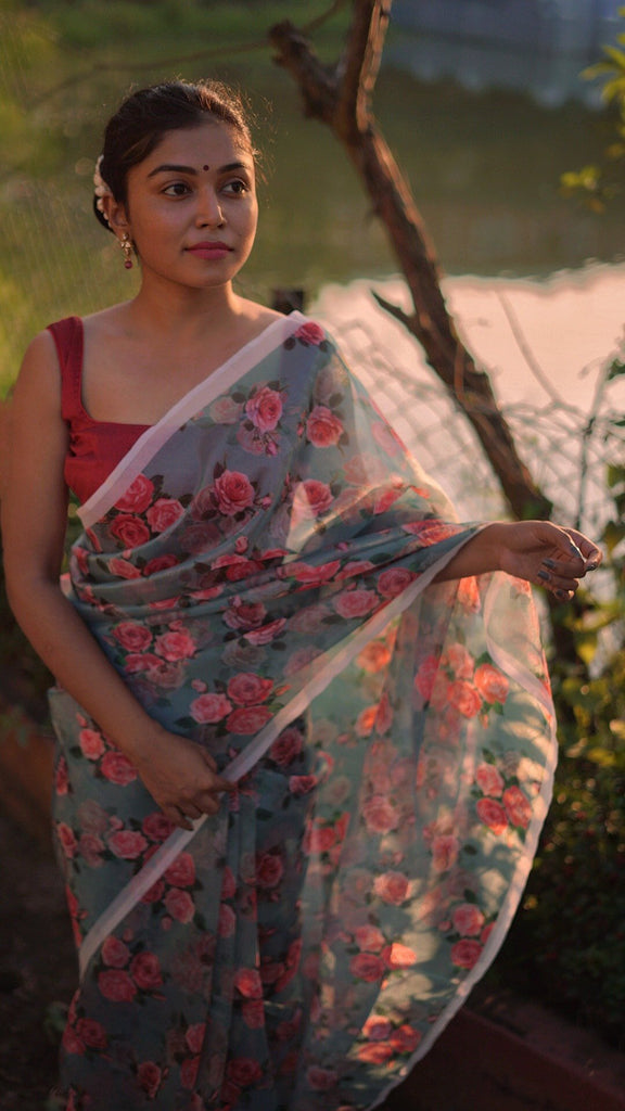 Floral Embroidered Organza Saree