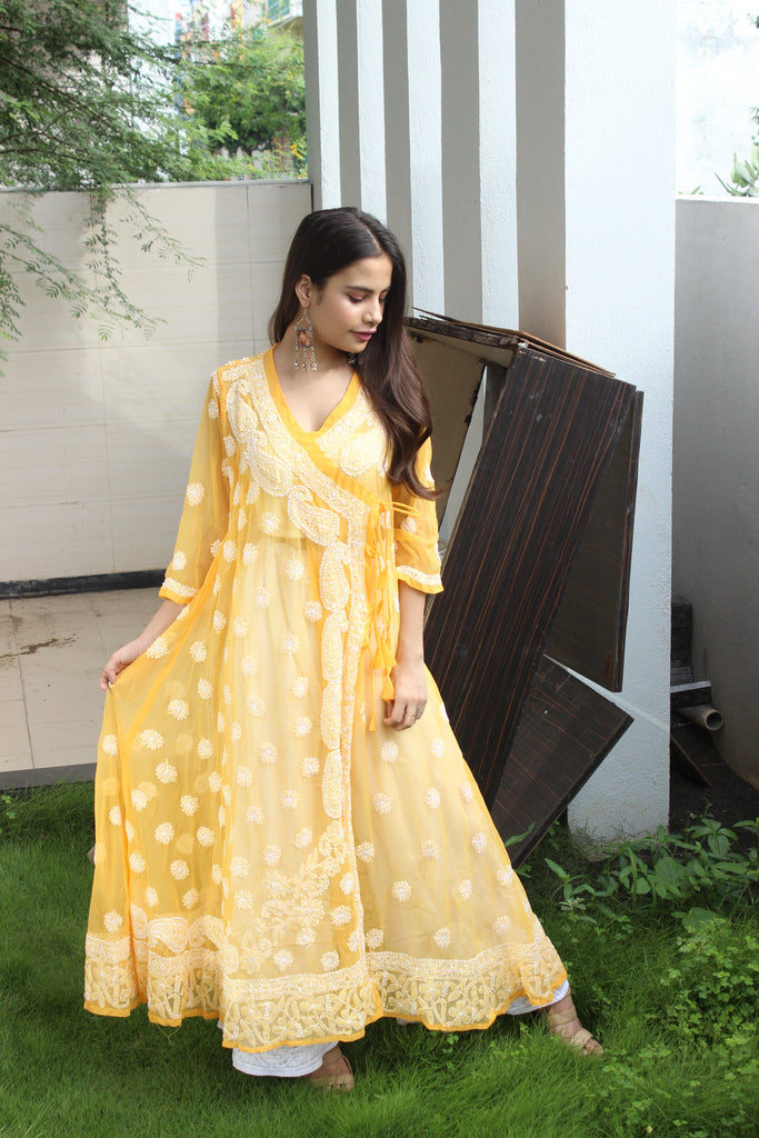 Light Yellow Chikankari Angrakha Kurta