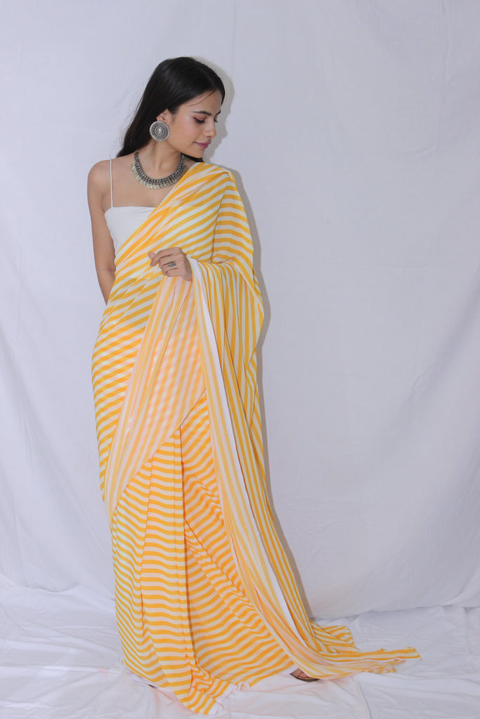 Yellow and White Striped Georgette Saree