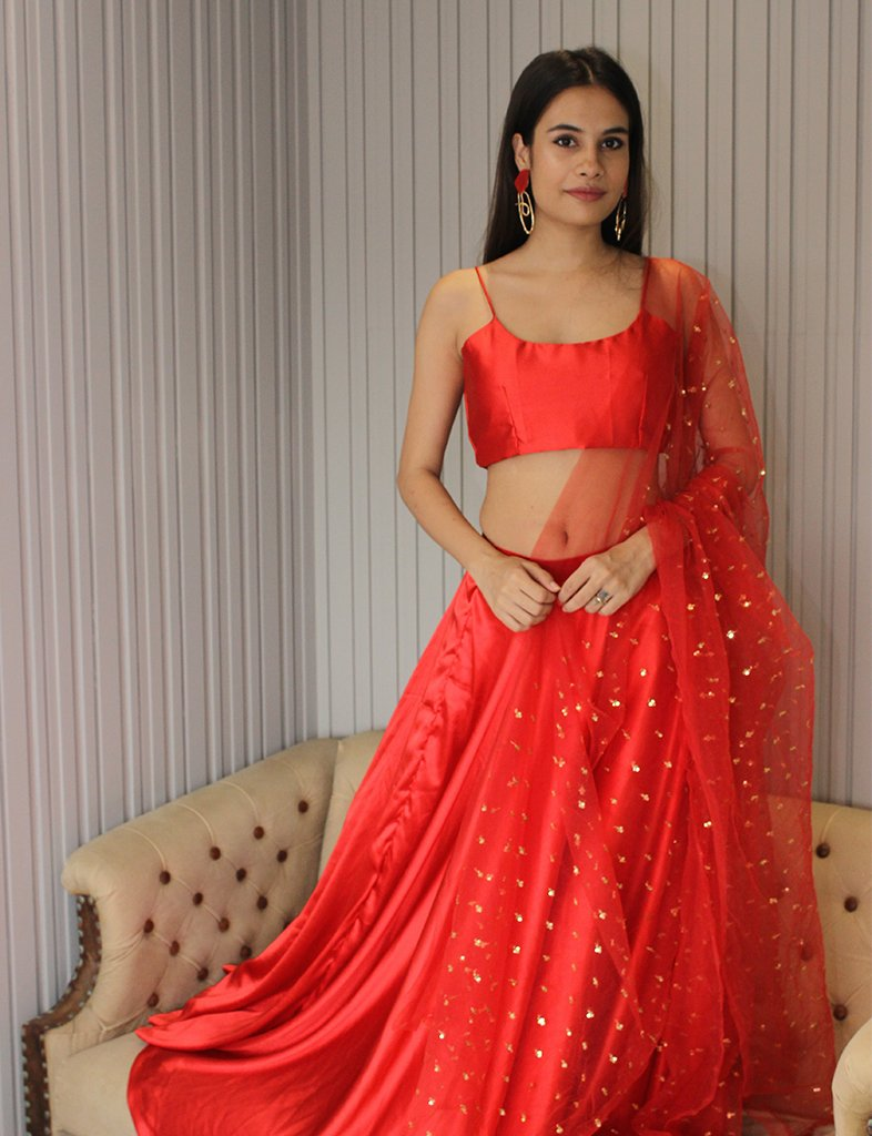 Red Satin Lehenga