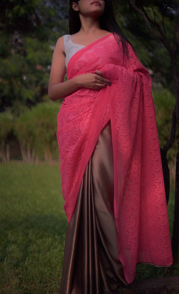 Pink Hakoba Embroidery with Light Brown Satin Saree