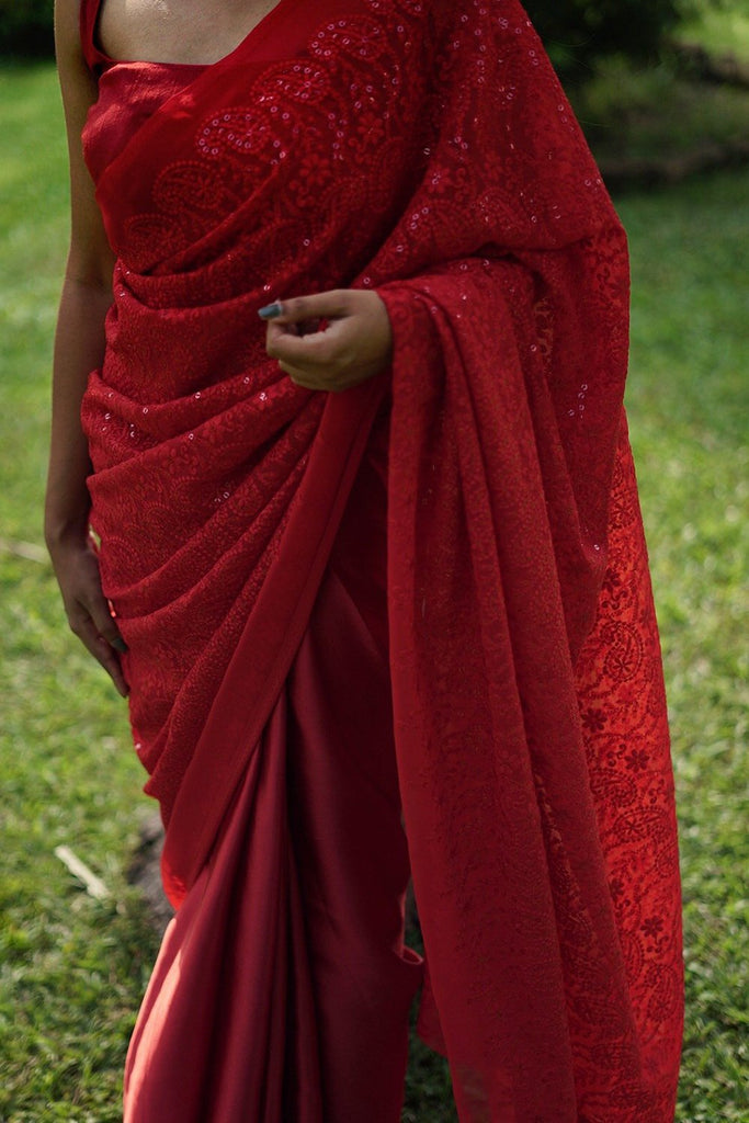 Red Hakoba Embroidery with satin
