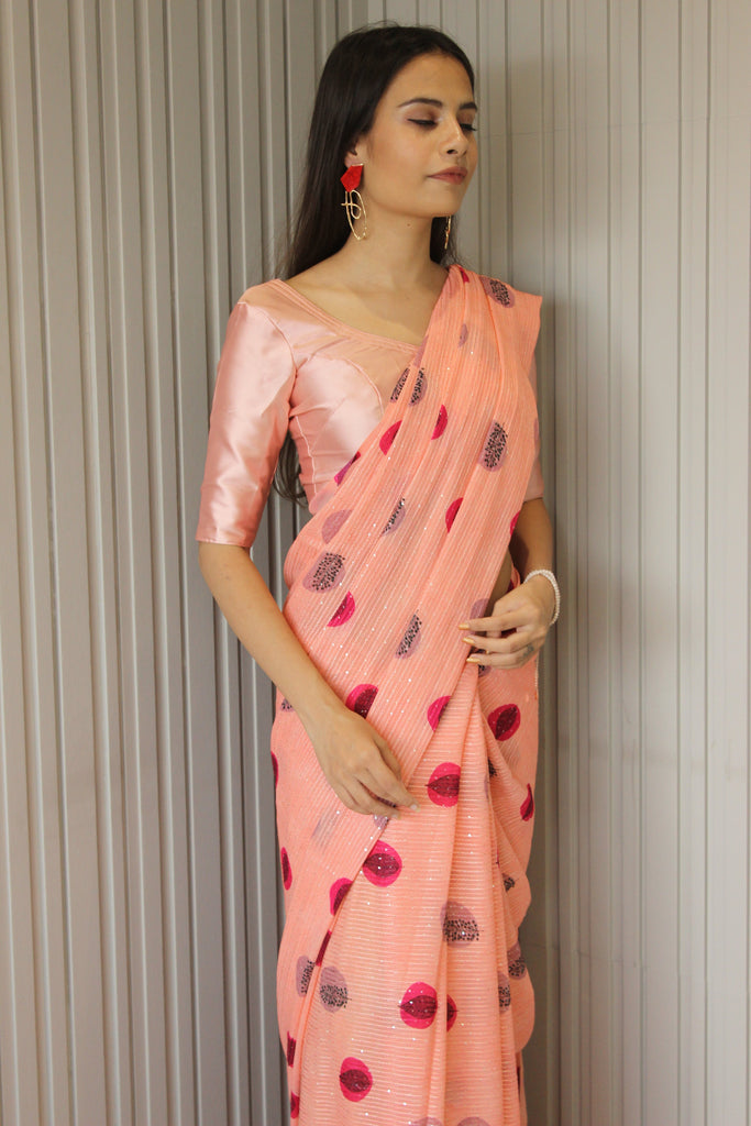 Peach Sequined Floral Saree
