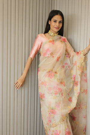 Festive Off-white Organza Saree