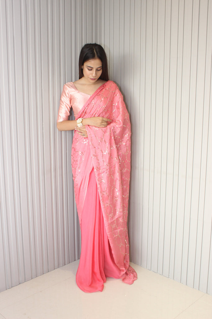 Half & Half Pink Chinnon & Satin Saree