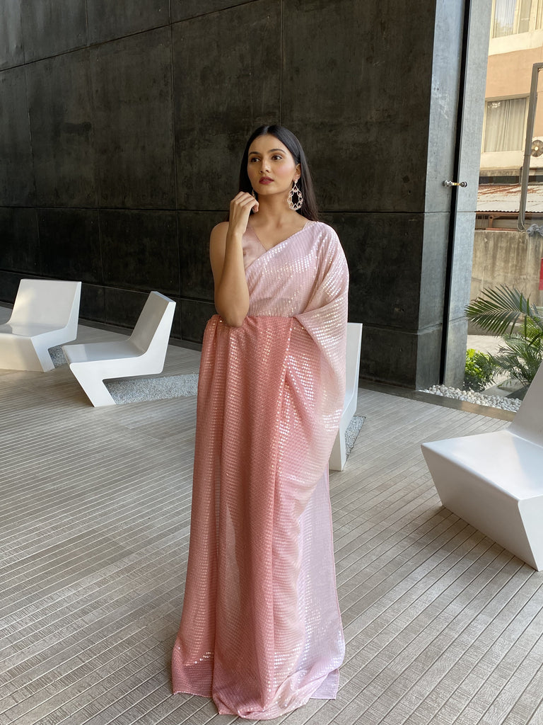 Ombre Pink Sequined Saree