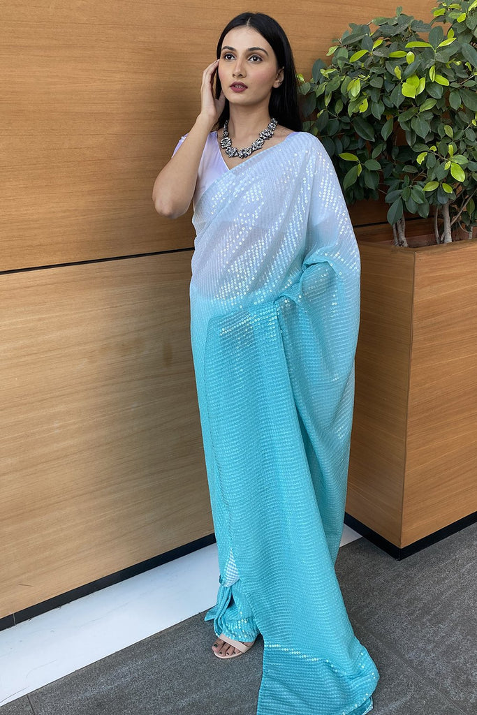 Ombre Blue Sequined Saree