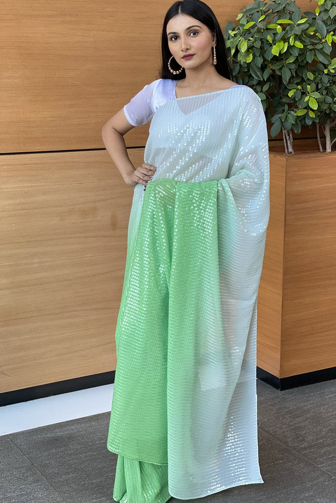 Ombre Green Sequined Saree