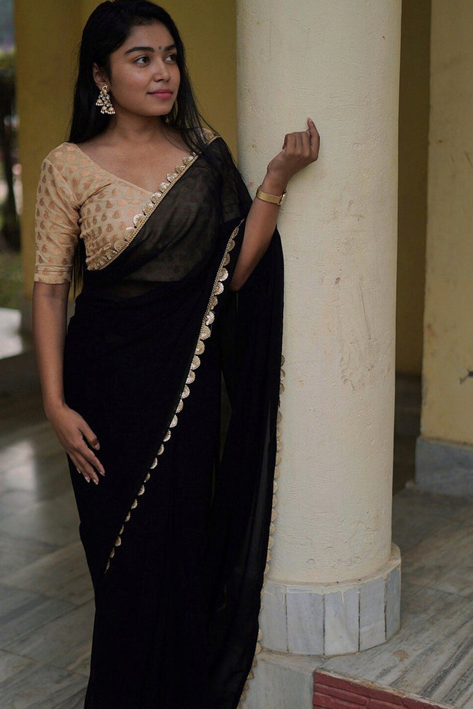 Georgette Black Saree with gold border