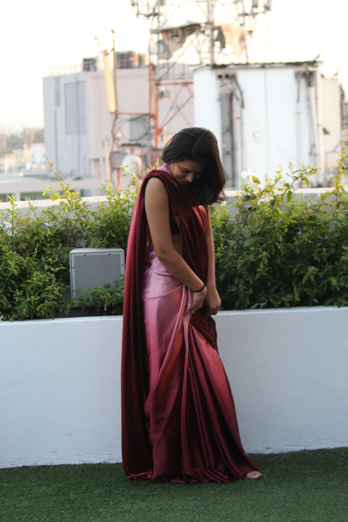 Ombre Pink Satin Saree