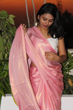 Shimmer Light Pink Satin Saree