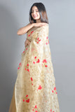 Embroidered Light Golden Organza Saree
