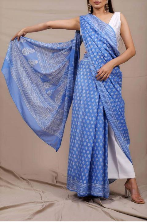 Pastel Blue Dots Mul Cotton Handblock Saree