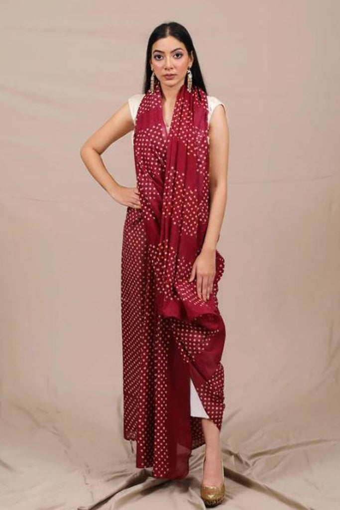 Muted Red Dots Mul Cotton Handblock Saree