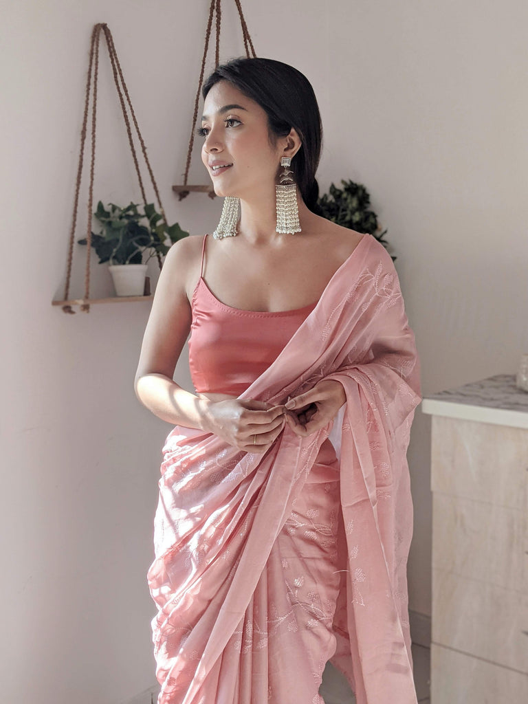 Oriental Pink Jute Cotton Saree
