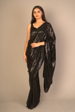 Black Half & Half Sequin Saree