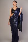Blue Half & Half Sequin Saree