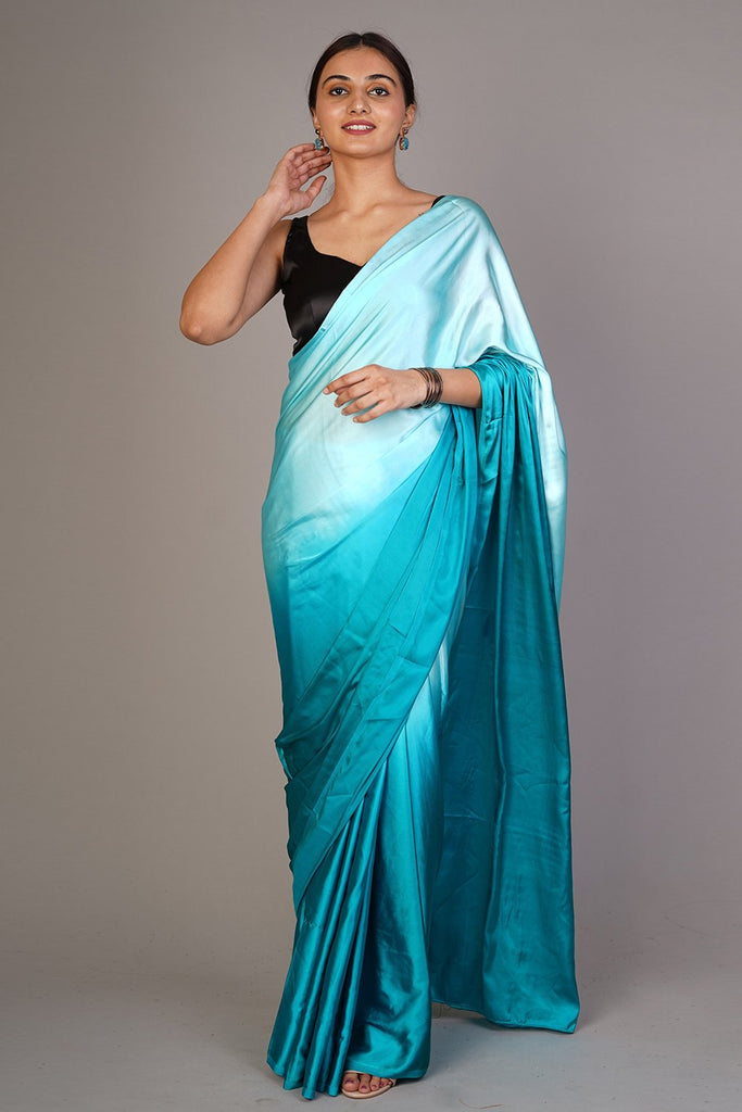 Ombre Blue Satin Saree