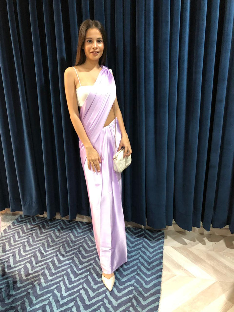 Pre-draped Lavender Satin Saree