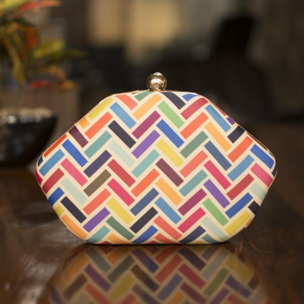 Multicoloured Chevron printed Clutch