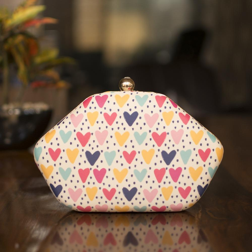 Heart printed Clutch
