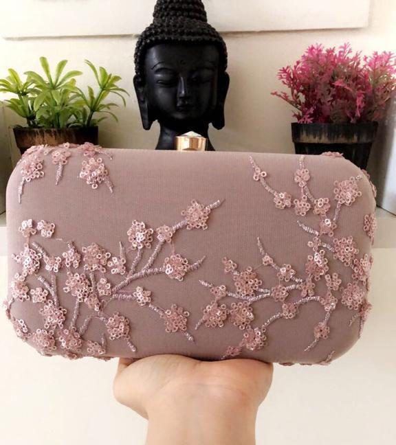 Dusty Pink Sequinned Clutch