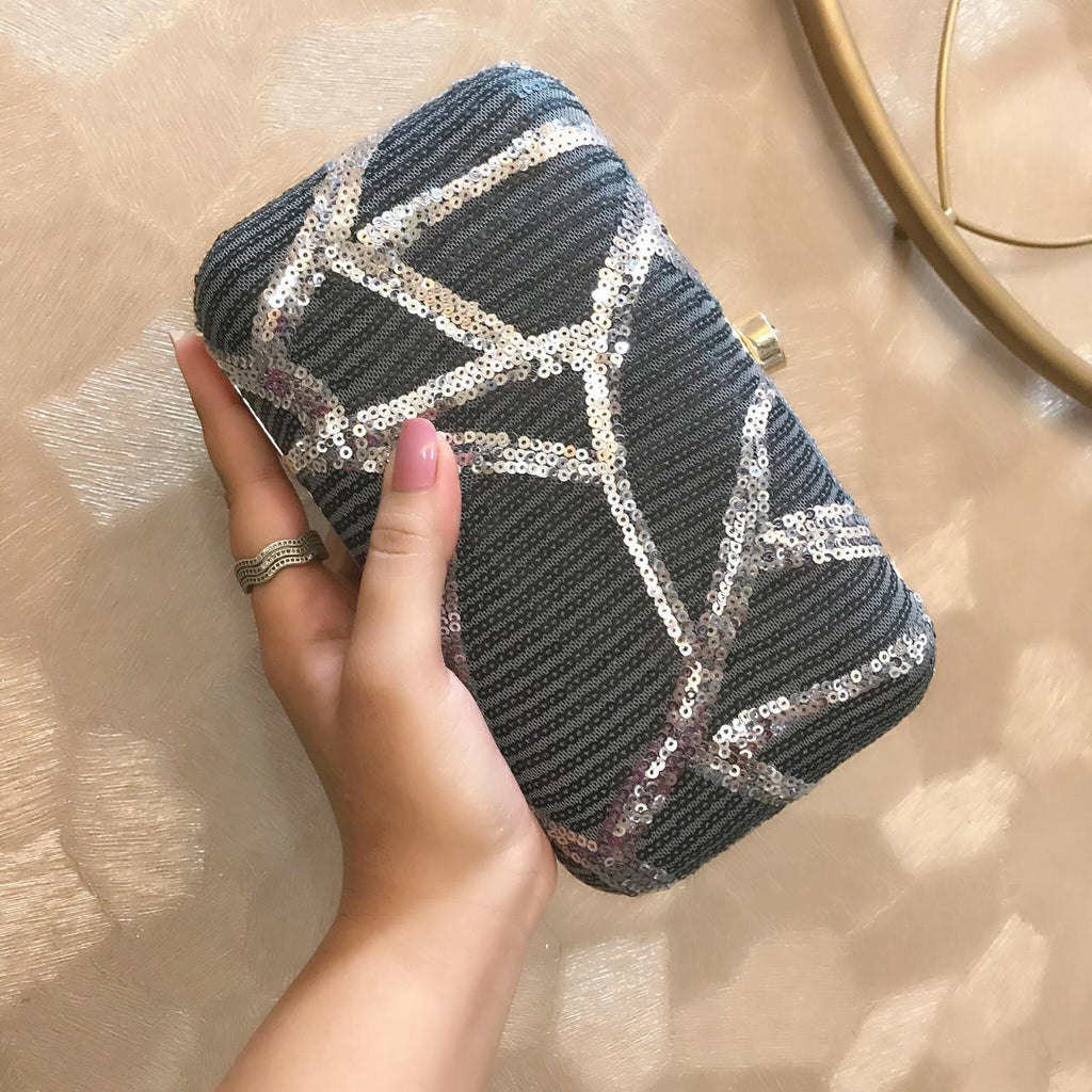Grey Sequinned Clutch