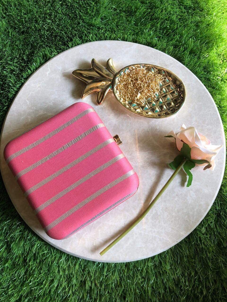 Pink Box Striped Clutch