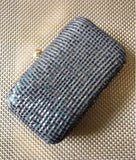Crushed Sequinned Grey Clutch