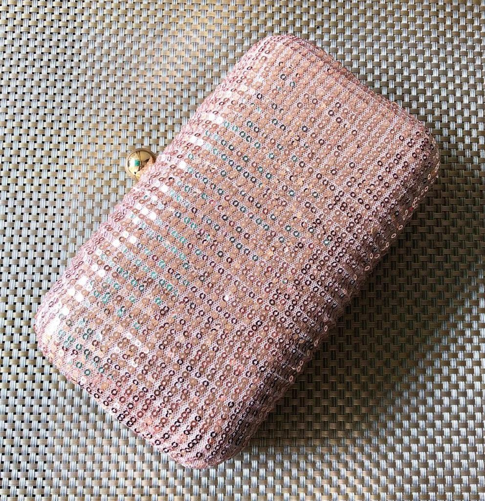 Crushed Sequinned Pink Clutch