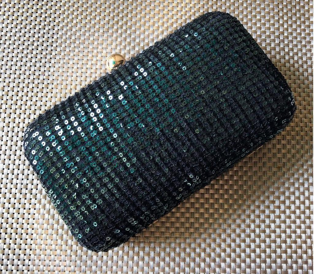 Crushed Sequinned Bottle Green Clutch
