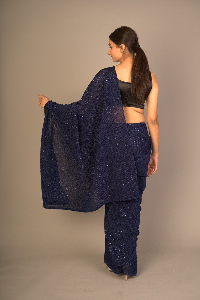 Shimmery Sequined Midnight Blue Saree