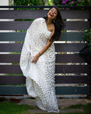 White & Golden Polka Chinnon Saree