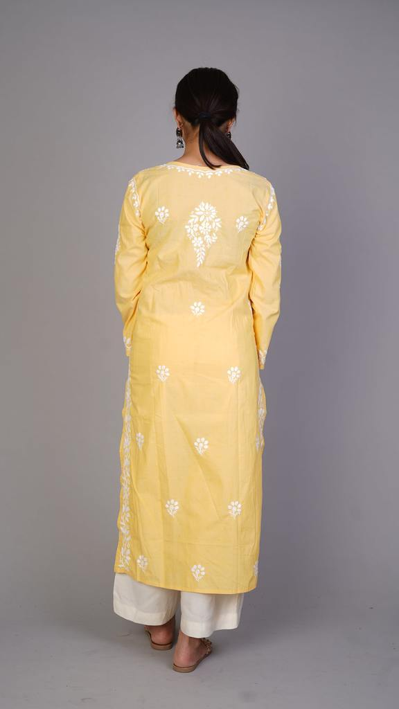 Yellow Chikankari Cotton Kurti