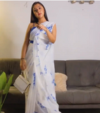 White Georgette saree with blue floral print