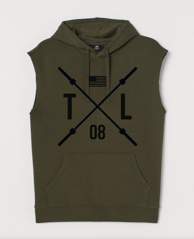 TL ARMY GREEN BARBELL CUT OFF HOODIE