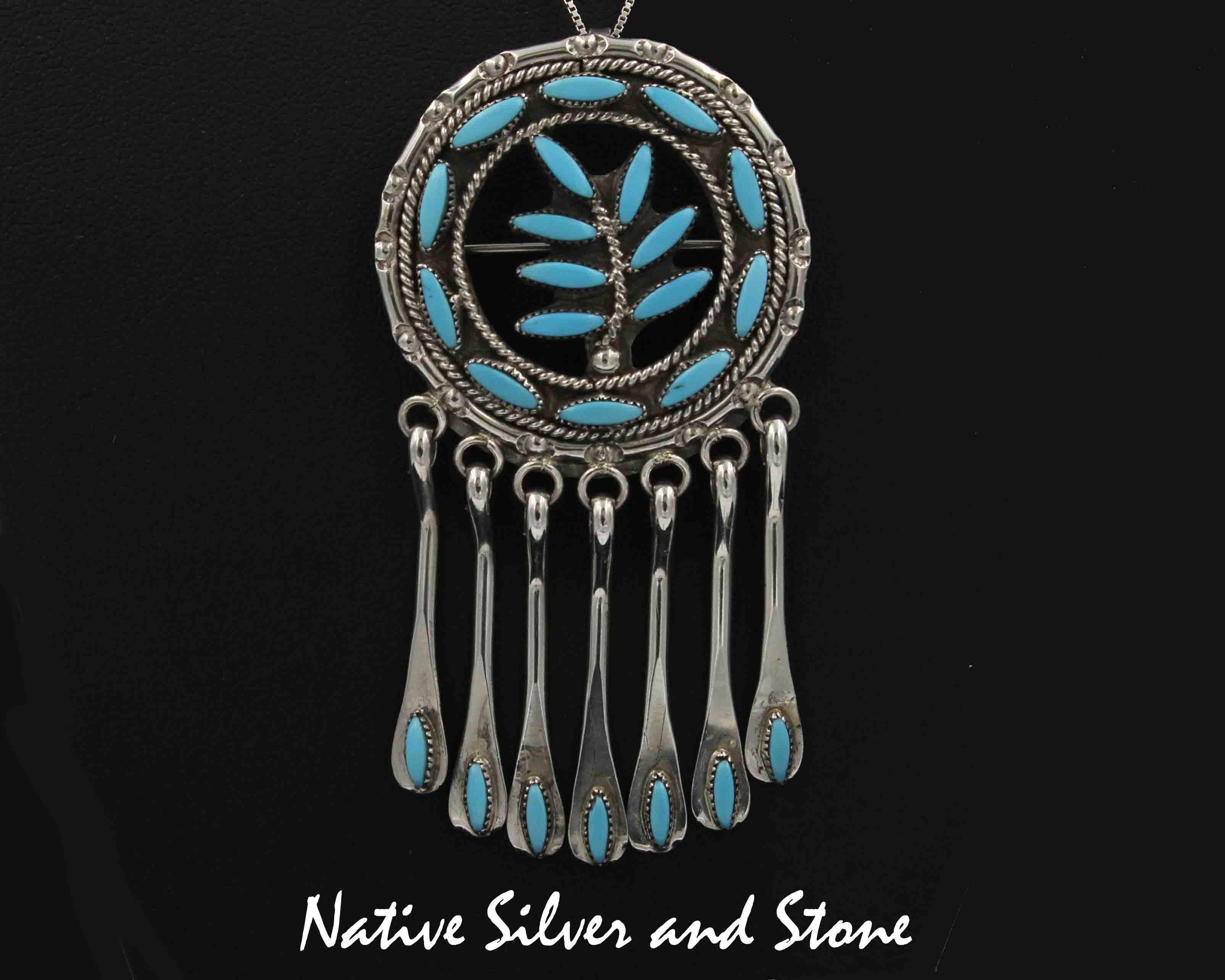 turquoise necklace pendant indian native zuni sterling pin american choker jewelry silver