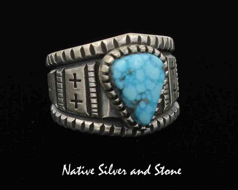 c23cca76914567 Harrison Jim - Navajo Jewelry<br>Handmade Ring<br>Turquoise - Triangle