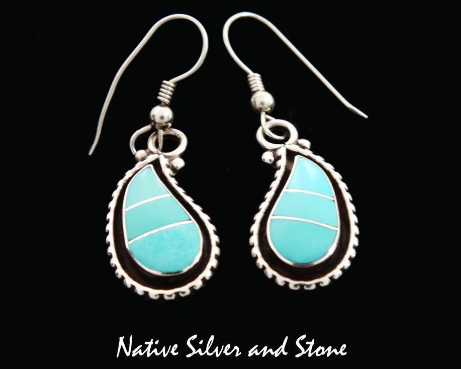 1aed3c396 Zuni Jewelry Earrings - French Wire Sleeping Beauty Turquoise Channel Inlay  Curved Teardrops