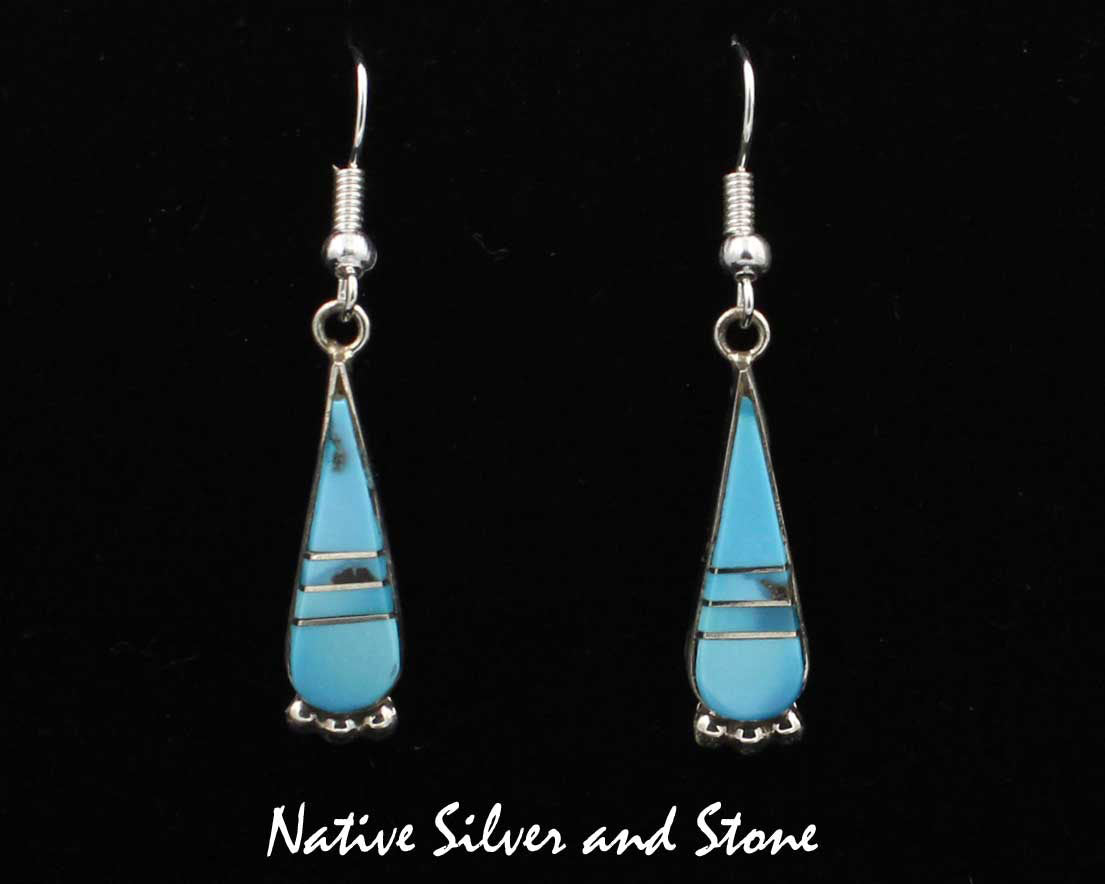 f1cfa1a61 Earrings - French Wire Teardrops Turquoise Inlay Sterling Silver