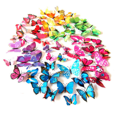 HOT 12pcs 3D PVC Butterfly Art