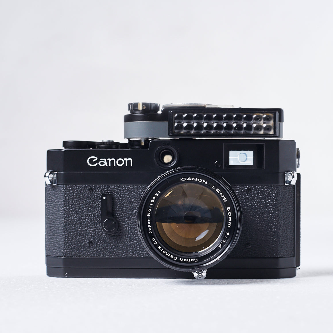Black (Repaint) Canon P Rangefinder with Black Canon 50mm f1.4 LTM, Canon Meter, and Case