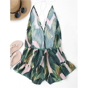 Drawstring Backless Leaf Print Beach Cover Ups -  Swim Gears