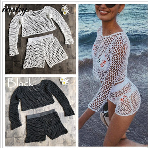 Knitted long sleeve +short pants Beach Cover Up -  Swim Gears