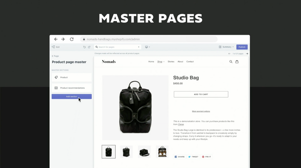 Shopify Unite 2019 新功能Master Pages