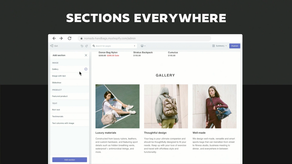 Shopify Unite 2019 新功能 Sections Everywhere